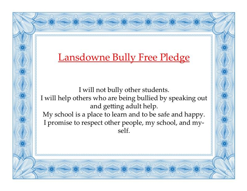 Lansdowne's Bully-Free Pledge