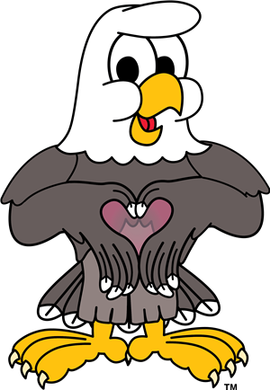 cartoon eagle making a heart with hands