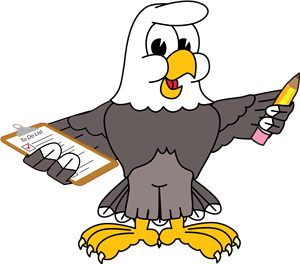 cartoon eagle with clipboard and pencil