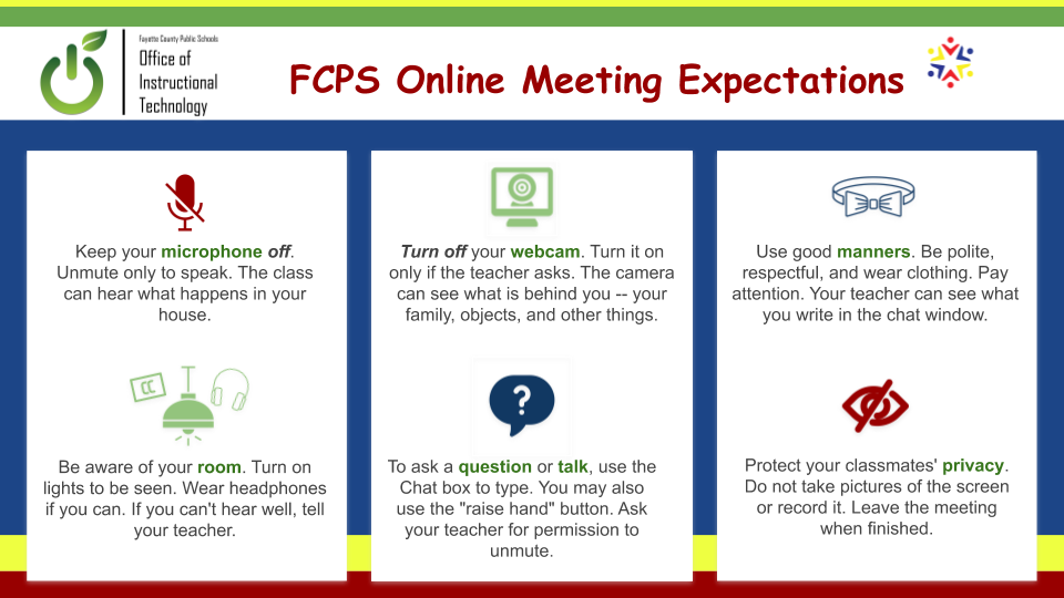 Online meeting expectations for students: microphone and webcam off, don't record/take pictures of the screen, use chat box