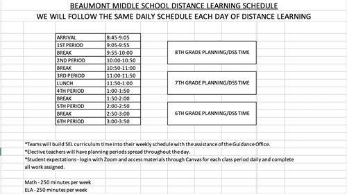 Beaumont Middle Distance Learning Schedule