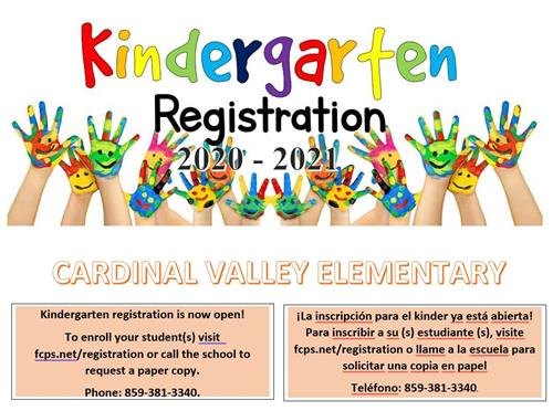 Kindergarten registration is now open. To enroll your student visit the fcps website or call the school for a paper version.
