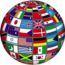 globe with countries' flags