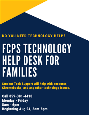 FCPS Technology Help Desk for Families 859-381-4410