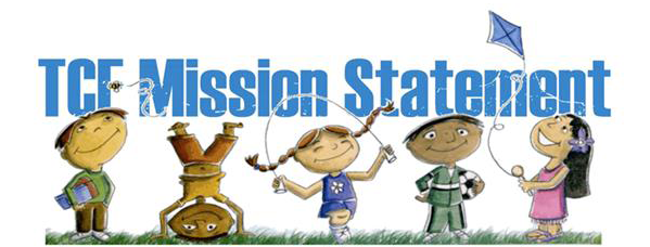 TCE Mission Statement header with cartoon kids