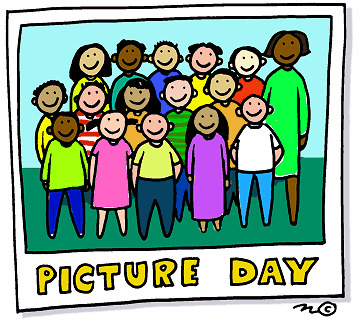 Drawing of students in colorful clothes standing with teacher for a class picture