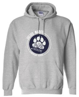 grey hooded sweatshirt with navy pawprint