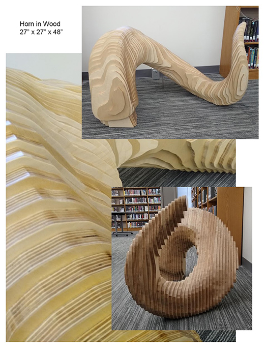 "wood sculpture titled ""Horn"""