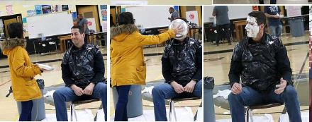 3 scenes leading up to man getting pie in face