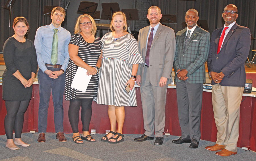 Beth Brockman was recognized at the September school board meeting.