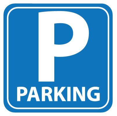 clip art of a parking sign, blue square with the letter P and the word parking