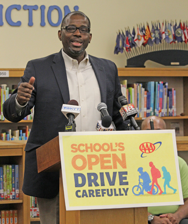 Superintendent Manny Caulk at the AAA news conference