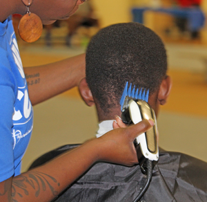 Barbers and stylists volunteered their time and skills.