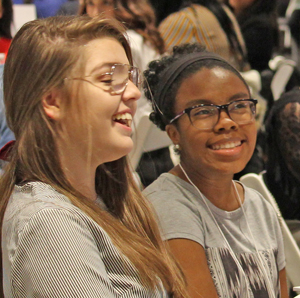 Students shared a laugh during the keynote at JA Miss Business.