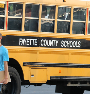 Buses dropped off students at Bryan Station High on the first day of classes.