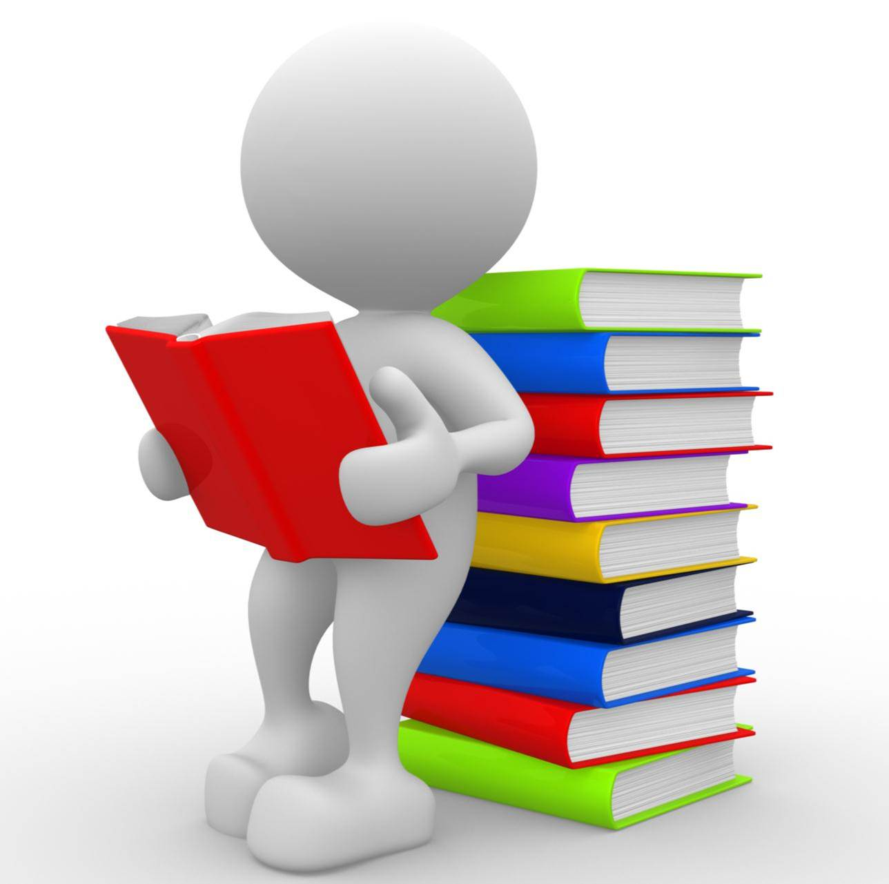 cartoon figure with stack of books