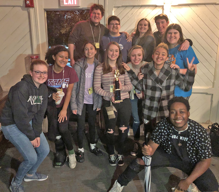 Tates Creek theater students with their trophy