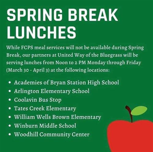 Lunches will be served by United Way of the Bluegrass during Spring Break at the following locations: The Academies of Bryan