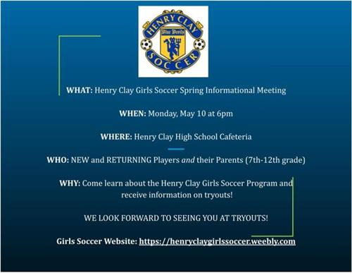 Henry Clay Girls Soccer Spring Informational Meeting